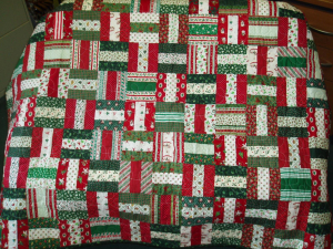A beautiful Christmas quilt available in the silent auction